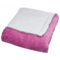 Pink Floral Etched Fleece Queen Size Throw