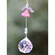 Pink Flower Angel Crystal Hanging Sun Catcher