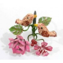 Pink Napkin Ring leaf & Bird design