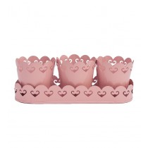 Pink Metal Planters With Tray
