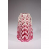 Pink With Combine White Cut & Curls Candle