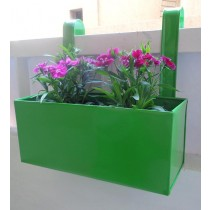 Plain Green Railing 14 Inch Square Planter