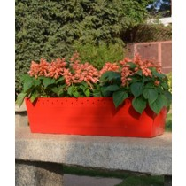 Orange Galvanized Metal Railing Planter