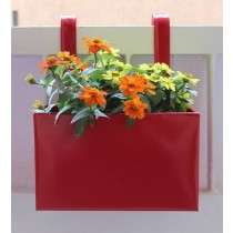 Plain Red Railing Square Box Planter