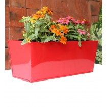Plain Red 16 Inch Rectangular Box Metal Planter