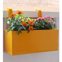Plain Yellow Railing Square Box Planter