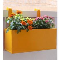 Plain Yellow Railing Square Box Planter