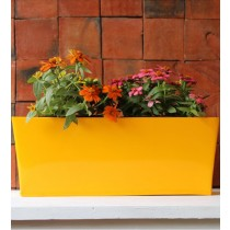 Plain Yellow 16 Inch Rectangular Box Metal Planter