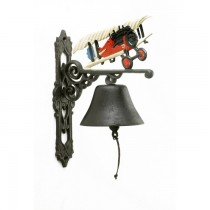 Plane Design Hand Painted Iron Garden Bell