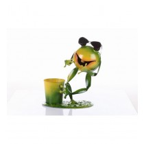 Green Frog With 7 Inch Metal Planter