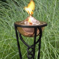 Polished Copper Finish Garden Torch With Yard Stake