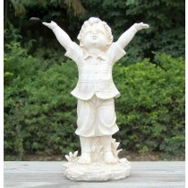 Polyresin White Happy Boy Garden Sculptures
