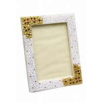 Pure White Marble Floral Pattern Photo Frame