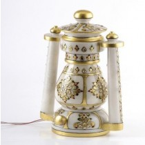 Pure White Marble Lantern In Gold Work