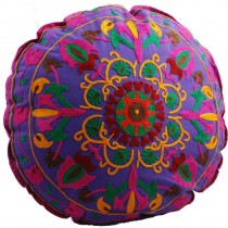 Purple 12 Inch Round Floor Pouf