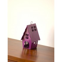 Purple Birdhouse With T-light Candle Holder