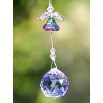 Purple Flower Angel Crystal Hanging Sun Catcher