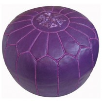 Purple Leather Cover Floor Pouf