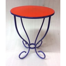 Purple With Orange Finish Iron Stool