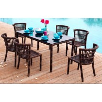 Rattan Brown Chair and Table Set