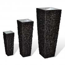 Rattan Flower Pot Planter With Zinc Pot Set of 3 Pcs