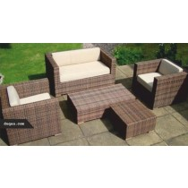 Rectangle Brown Garden Rattan Sofa Full Set