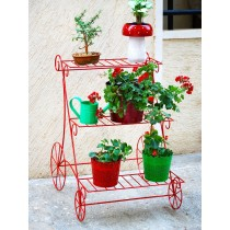 Red 3 Steps Trolley Style Planter Stand