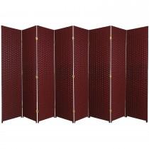 Red 6 Feet - Tall Woven Fiber 8 Folding Panel