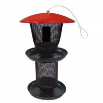 Red and Black Finish Metal Hanging Bird Feeder