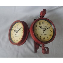 Red Antique Decorative Metal Wall Clock