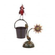 Red Bird With Flower Design 6 Inch Metal Pot