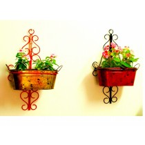 Red & Black Wall Pot Holder with Oval Wall Pots(Set Of 2)