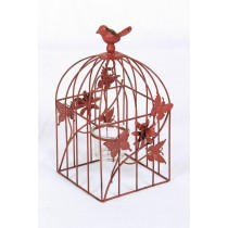Red Butterfly & Floral Metal Bird Cage Candle Holder