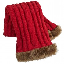 Red Cable Knit Faux Fur Trimmed Throw