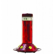 Red Color Finish Glass Bird Feeder