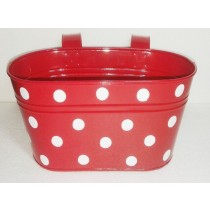 Red Color 6 Inch Oval Planters With White Dots