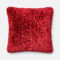 Red Handmade Polyester Square Cushion