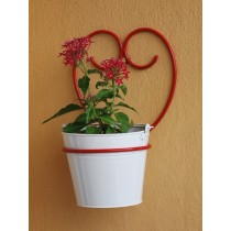 Red Happy Heart Wall Pot Holder With White Pot
