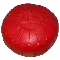 Red Leather Cover Floor Pouf