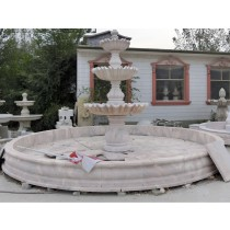 Red Marble Hand Curved Water Fountain Pedestal