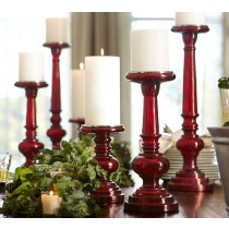 Red Mercury Glass Pillar Candle Holder