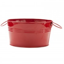 Red Oval Shape Galvanized Metal Tub Planter