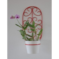 Red Oval Wall Pot Holder With White Planter