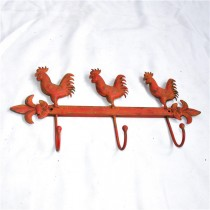 Red Painted Metal Cock Decor Wall Hook