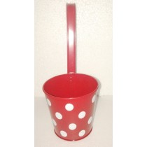 Red Polka Dot Design Round Metal Pot With Handle
