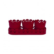 Red Metal Planters With Tray