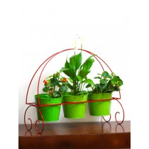 Red Powder Coating  3 Pot  Herb Stand