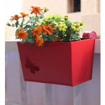Metal Rectangular Planter With Cute Butterfly