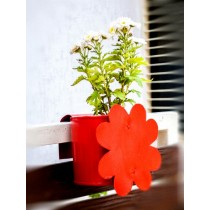 Red Flower Galvanized Metal Railing Planter