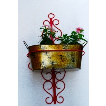 Red Wall Pot Holder With Antique Gold Oval Wall Pot Set